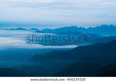 Silhouette mountain landscape and clouds
