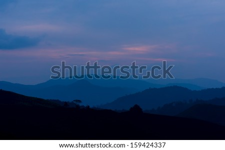 silhouette mountain of dawn morning