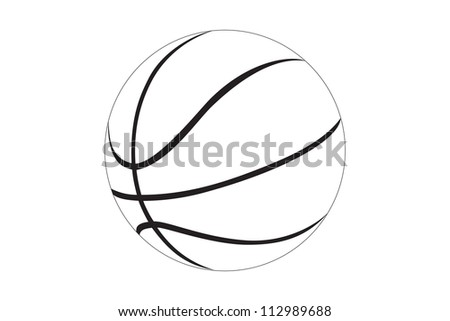 Silhouette of a basketball isolated on white background