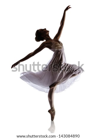 Silhouette of a beautiful female ballet dancer isolated on a white background. Ballerina is wearing a white dress with feathers and pointe shoes. - stock photo