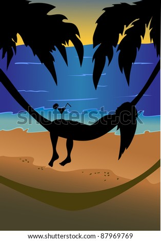 silhouette of a beautiful girl lying in a hammock on the background sky, palm trees and sea. - stock photo