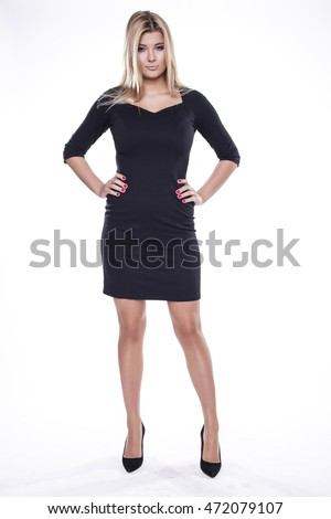 Silhouette of a beautiful young adult slim sexy and attractive sensuality pretty blonde woman in black elegance fashionable dress isolated on white background