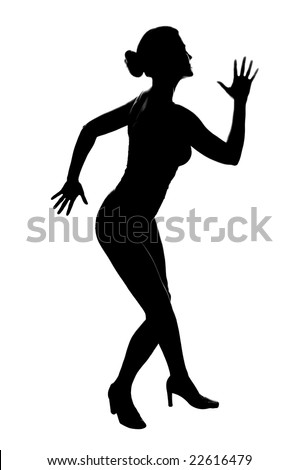 silhouette of a beautiful young woman posing