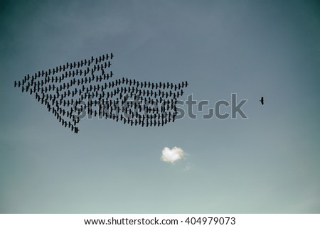 Silhouette of a bird flying away from the flock for the concept of odd one out.