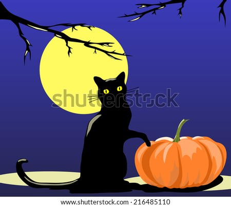 Silhouette of a black cat sitting at the pumpkin under the full moon. - stock photo