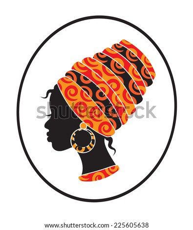 silhouette of a black woman with a kerchief on her head - stock photo