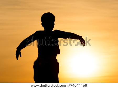 Silhouette of a Boy in the Sunset