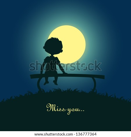 Silhouette of a boy sitting lonely in the moonlight. Design for card. - stock photo