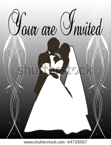 Silhouette of a Bride and groom on silver gradient background - stock photo