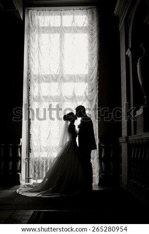 Silhouette of a bride and groom on the background of a window. - stock photo