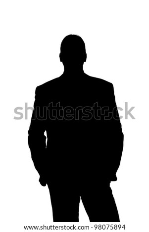 Silhouette of a business man hands in pocket - with clipping path - stock photo