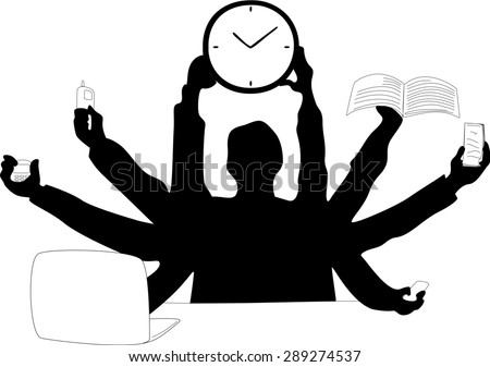 Silhouette of a business man who tries to make use of different devices at the same time, while holding up a clock.