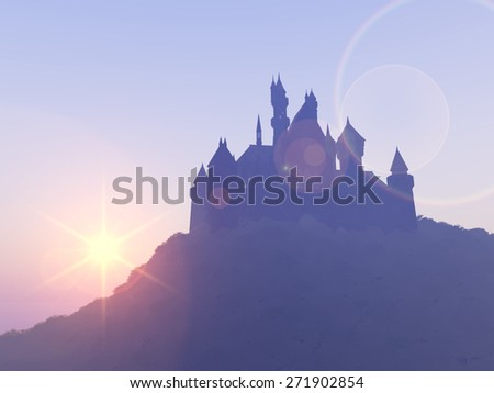 Silhouette of a Castle Computer generated 3D illustration - stock photo