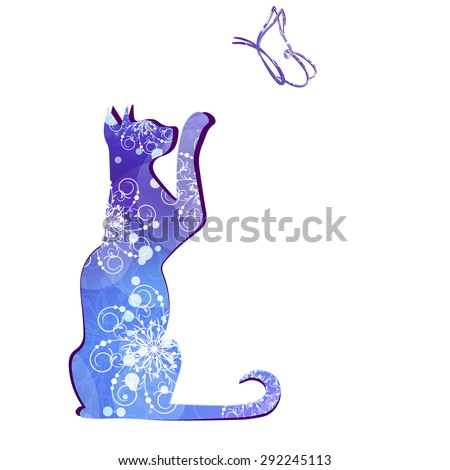 Silhouette of a cat and a butterfly pattern.