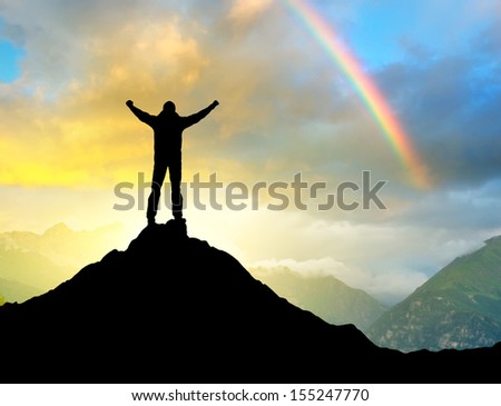 Silhouette of a champion. Sport and active life concept - stock photo