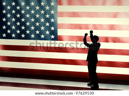 Silhouette of a cheering politician against american flag with vintage look - stock photo