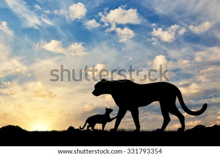 Silhouette of a cheetah and cubs against the evening sky