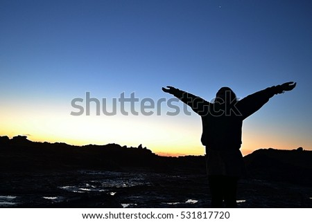 Silhouette of a child reaching arms out and looking up to the sky at the beach during sunset