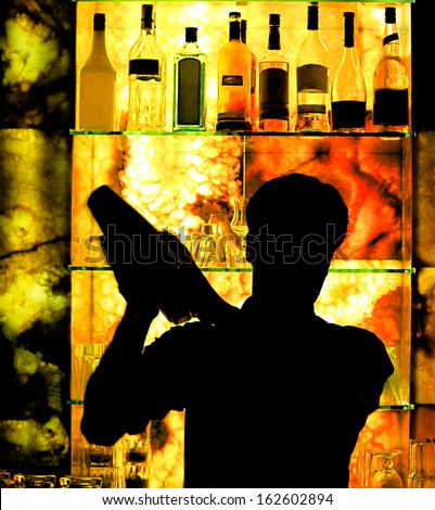 Silhouette of a Classic Barman - stock photo