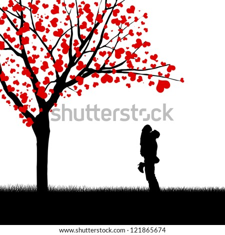 Silhouette of a couple and love tree isolated on white
