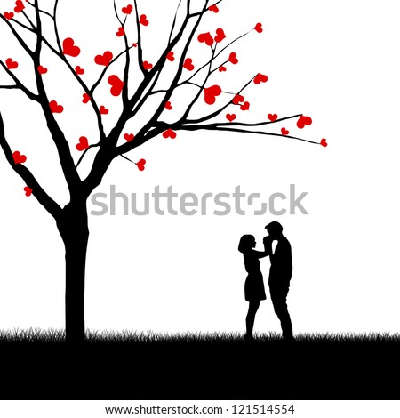 Silhouette of a couple and tree with love leaves isolated over white