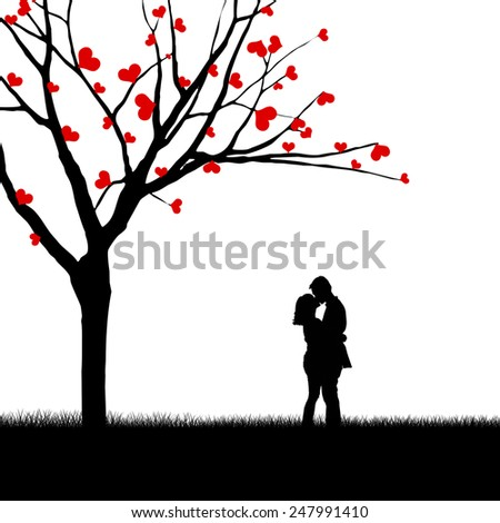 Silhouette of a couple kissing beside a love tree - stock photo