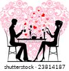 Silhouette of a couple sitting and talking at cafe - stock photo