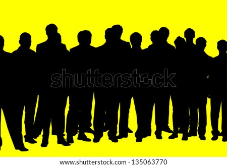 silhouette of a crowd of people on a yellow background - stock photo