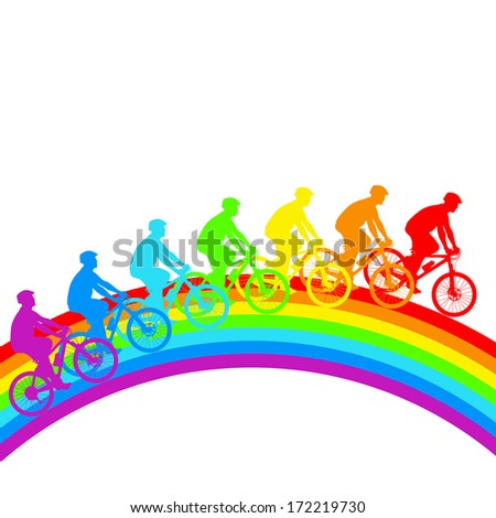Silhouette of a cyclist a rainbow male.   illustration.
