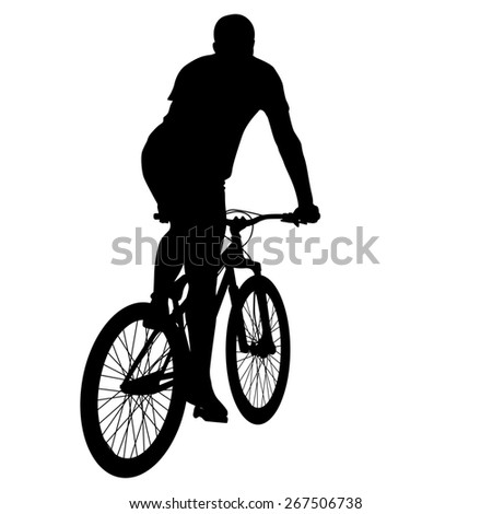 Silhouette of a cyclist male.   illustration.