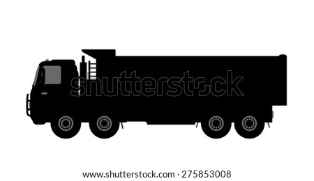 Silhouette of a dump truck on white background.  illustration.