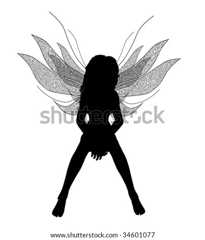 Silhouette of a fairy sitting down