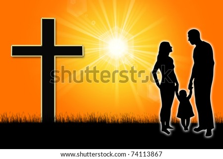 silhouette of a family with a cross