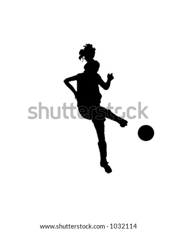Silhouette of a female soccer player kicking a ball - stock photo