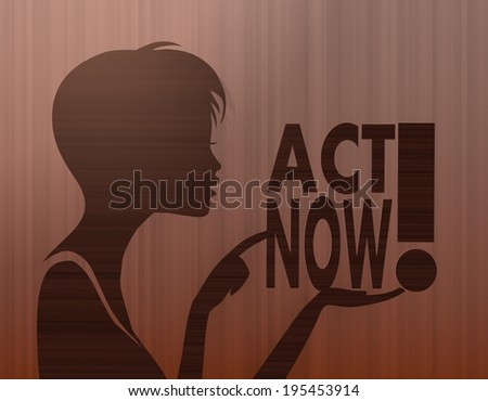 silhouette of a female woman presenting a act now on stylish background with brown lines