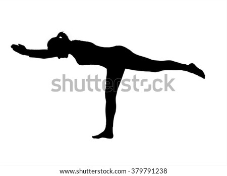 Silhouette of a female yoga instructor demonstrating a basic yoga pose.