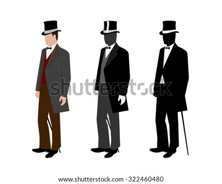 silhouette of a gentleman in a tuxedo - stock photo