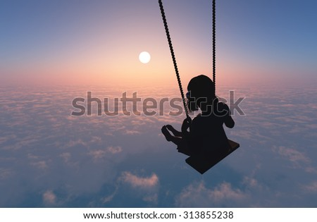 Silhouette of a girl on a swing on clouds. - stock photo