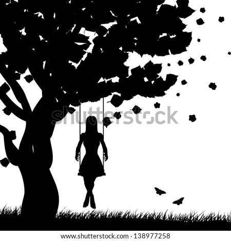 Silhouette of a girl on swing under the tree on white background. - stock photo