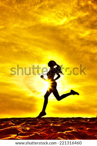 Silhouette of a girl running on the background of clouds the effect of film