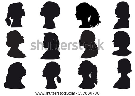 Silhouette of a girls head, face in profile, woman faces profiles, Isolated on white background - stock photo