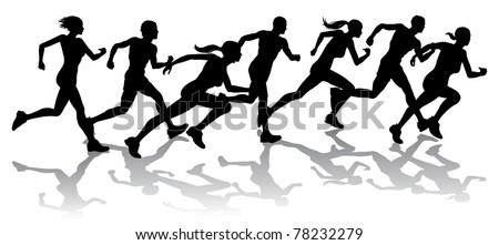 Silhouette of a group of runners racing with reflections - stock photo