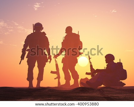 Silhouette of a group of soldiers at sundown., 3d render