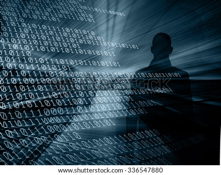 Silhouette of a hacker with binary codes on background.  Online security concept - stock photo