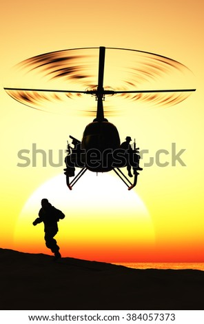 Silhouette of a helicopter and a person.