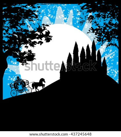 Silhouette of a horse carriage and a medieval castle  - stock photo