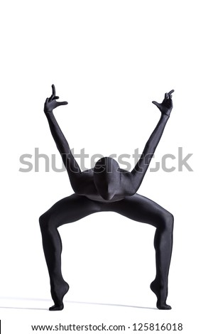 Silhouette of a human in black zentai suit - stock photo