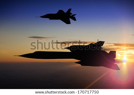 Silhouette of a latest generation stealth fighter plane and a first generation stealth reconnaissance plane from 1960's. At sunset or sunrise. (Computer image, artist's impression) - stock photo