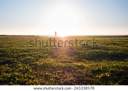 Silhouette of a Man Against the Sunlight - stock photo