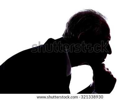 Silhouette of a man expressing thinking